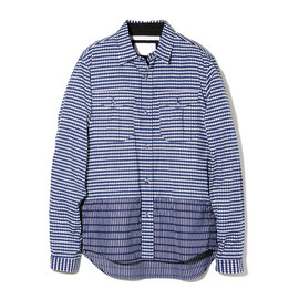 White Mountaineering - COTTON STRIPE x BORDER PRINT BACK DARTS SHIRT