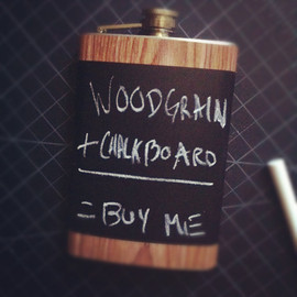 supplybychrit - Woodgrain Wood Chalkboard Black Stainless Steel Hip Flask Blackboard