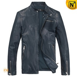 CWMALLS - Mens Blue Slim Fit Leather Motorcycle Jackets CW812203 - cwmalls.com