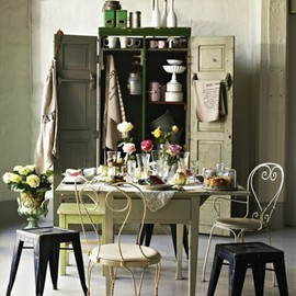 shabby chic with different seats, which I love