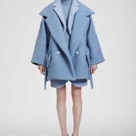 Carven - Blue bouclé wool short coat with belt - 135 M79A 525