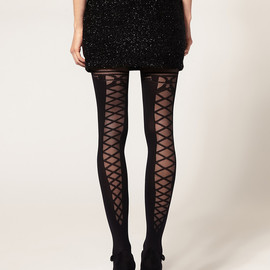 ASOS - Lace Up Back&Bow Tights