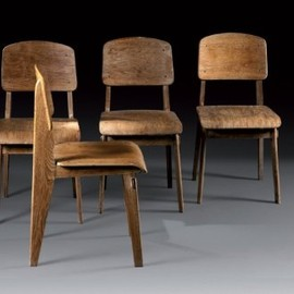 "Jean Prouve - 4 Wooden ""Standard"" Chairs, 1952"
