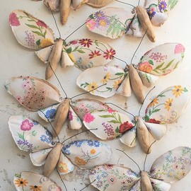 Mister Finch - Butterflies made With Vintage Tablecloths And Samplers