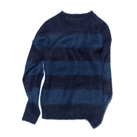 uniform experiment - MOHAIR BORDER CREW NECK KNIT