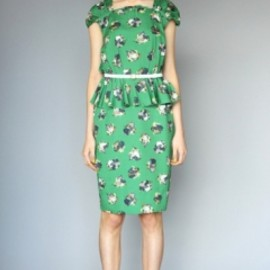 KAREN WALKER  - Square Neck Peplum Dress