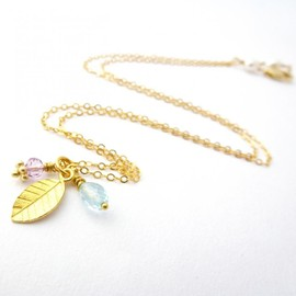 Luulla - Leaf Charm Necklace in Gold Filled with Aquamarine and Amethyst