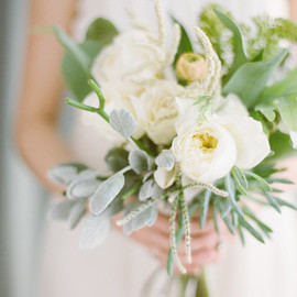 White Garden Rose Succulent Tropical Wedding Bouquet