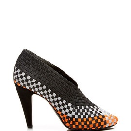ALEXANDER WANG - SS2015 Carla Woven Elastic Pump In Optic White, Shiny Orange, And Light Grey