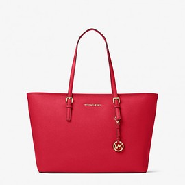 MICHAEL KORS - MICHAEL Michael Kors Jet Set Travel Large Saffiano Leather Top-Zip Tote Red