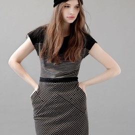 Cute striped dress from Eve Gravel. Photography by Maude Arsenault.