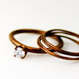AltanaMarie - Rustic Peach Gold and Crystal Matte Bronze Stack Ring