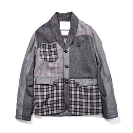 WHITE MOUNTAINEERING - WOOL CHECK MIX SHAWL COLLAR JACKET