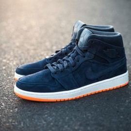 Nike - NIKE AIR JORDAN I MID NOUVEAU OBSIDIAN/OBSIDIAN-ATOMIC ORANGE-COOL GREY