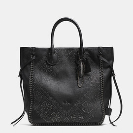 COACH - TATUM studded tall tote in pebbled leather