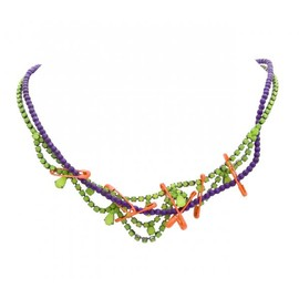 Tom Binns - SMALL YELLOW CRYSTAL PURPLE PEARLS AND ORANGE SAFETY PIN NECKLACE