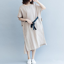 Casual Dresses - Linen Color Dresses, Casual Dresses, Linen maxi dress, Pure Color dress