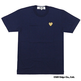 PLAYCOMMEdesGARCONS(プレイコムデギャルソン) - GOLDHEARTONEPOINTTEE(Tシャツ)NAVYxGOLD200-006748-047x【新品】