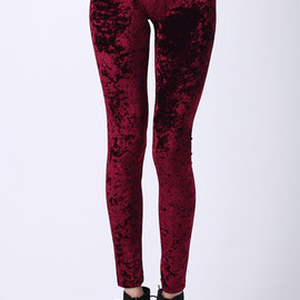 ROMWE - Classic Gold Velvet Wine-red Leggings