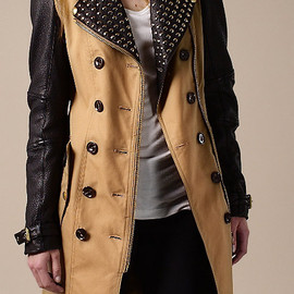 BURBERRY - Long Leather Detail Biker Trench Coat MALT