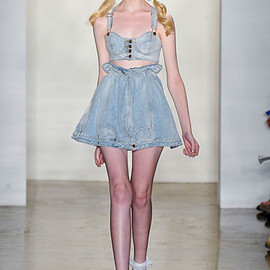 JEREMY SCOTT - denim bralette and skirt