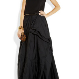 Lanvin - Draped wool-jersey and taffeta gown