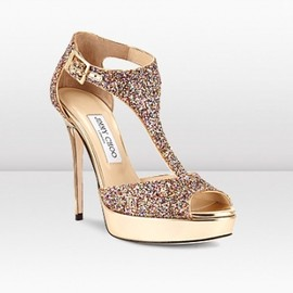 JIMMY CHOO - TOTEM  Golden Multicolour Coarse Glitter Fabric T-Strap Platform Sandal  1