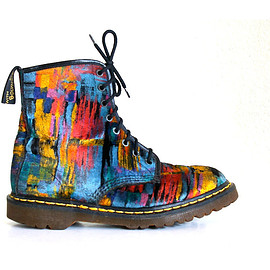 Dr.Martens - RARE 90's Grunge Abstract Painterly Velvet Dr / Doc Martens / Mens 9