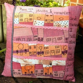 "Luulla - Hand Embroidered Art Pillow. ""Our House"""