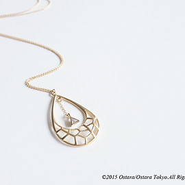 Ostara - 【14KGF】Necklace,Mat Gold Teardrop,Triangle CZ
