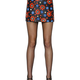 SAINT LAURENT - SS2015 FLORAL PRINTED NAPPA LEATHER MINI SKIRT