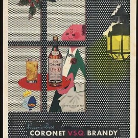 Paul Rand - 1943 Coronet VSQ Brandy  art Christmas Print Ad