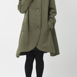 wool coat - Army Green cloak wool coat Hooded Cape women Winter wool coat