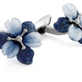 TATEOSSIAN - Silver Carved Flora Lily - Icy Quartz And Blue Dumortierite