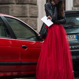 street - lady in red