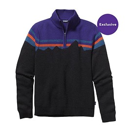 patagonia - Men's Merino 1\/4-Zip Sweater - Black w/Concord Purple
