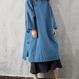 top - Denim dress, light blue Cowboy Loose dress, dark blue long sleeved dress, gown for women