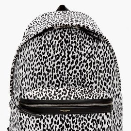SAINT LAURENT - WHITE & BLACK LEOPARD PRINT BACKPACK