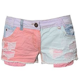 Ribbon - Colour Patch Denim Shorts