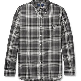Polo Ralph Lauren - Suede Elbow-Patch Checked Cotton-Flannel Shirt