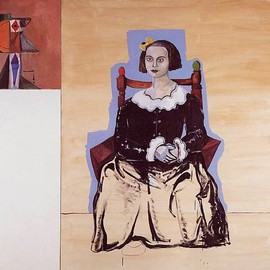 George Condo - 1991 Seated Figure with Abstraction