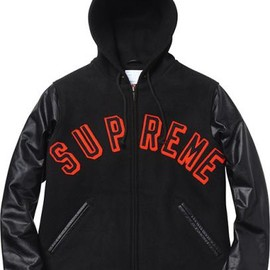 "Supreme - 2012 Fall/Winter Hooded Varsity Jacket ""Black"""