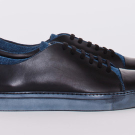Acne - Carlo Leather and Denim Sneakers