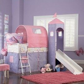 Powell - Princess Twin Size Castle Loft Bed with Slide