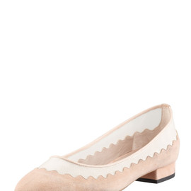 Chloé - Suede Tulle-Scalloped Ballet Flat, Nude