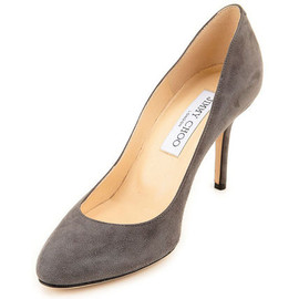 JIMMY CHOO - Gilbert Suede Round Toe Pumps Grey