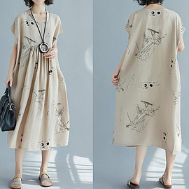large size Casual dress - Women Loose Dresses maternity dress Cotton and linen long large size Casual dress women dress