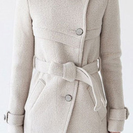 coat - Image of [grzxy6600651]Elegant Sweet Stand Collar Solid Color Worsted Coat