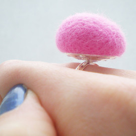 Luulla - Pastel Pink Ring - Needle Felted Baby Pink Ring