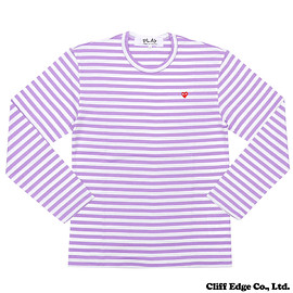 PLAY COMME des GARCONS  (プレイ コム デ ギャルソン) - SMALL RED HEART ボーダー 長袖Tシャツ  PURPLE 202-000768-049+